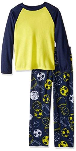 Komar Kids Boys Long Sleeve 2 Piece Pajama Set, Yellow Sports