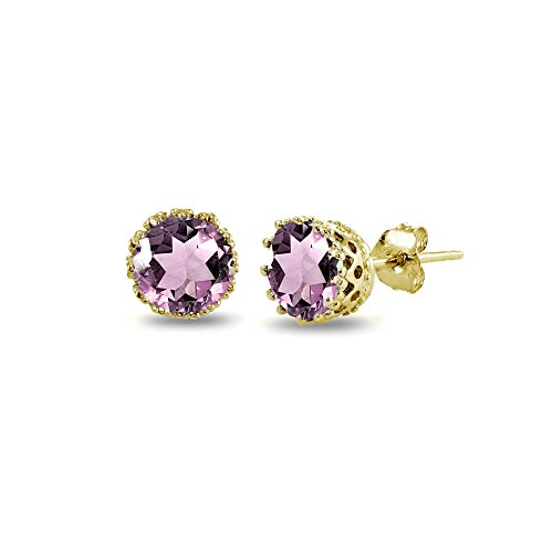 Yellow Gold Flashed Sterling Silver Simulated Alexandrite Crown Stud -