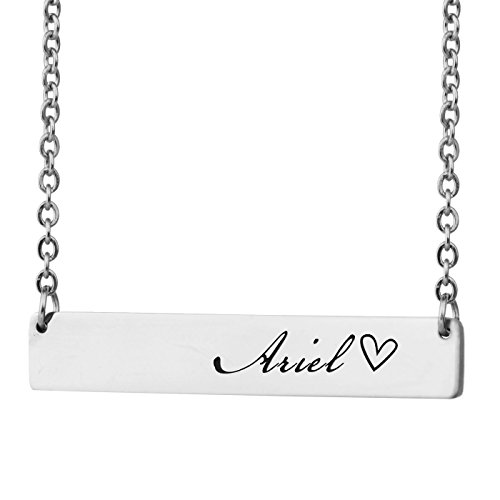 HUAN XUN Personalized Bar Custom Name Necklace Ariel Personal Womens Jewelry Birthday (Ariel Personalized)