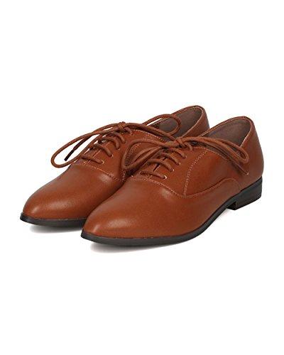 Breckelles Kvinner Leather Spisse Tåen Dagdriver - Arbeid, Hver Dag, Grunnleggende - Snøre På Flat - Gg49 Av Tan
