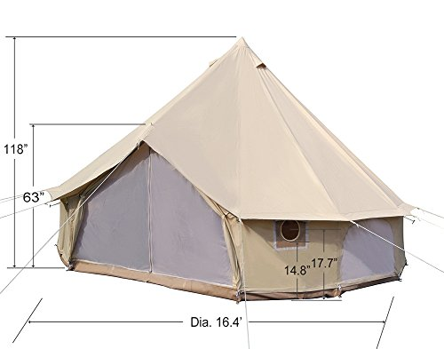 Dream House Diameter 5m Big 4 Season Canvas Cabin Waterproofing Camping Tents With Stove Jack Camp Stuffs
