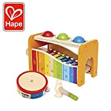 Hape Music Toys for Toddlers - Award Winning Wooden Pound & Tap Bench with Slide Out Xylophone and Tap Along Tambourine - Durable, Non-Toxic, Bright Colors