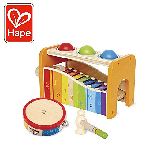 Hape Music Toys for Toddlers - Award Winning Wooden Pound & Tap Bench with Slide Out Xylophone and Tap Along Tambourine - Durable, Non-Toxic, Bright Colors ()