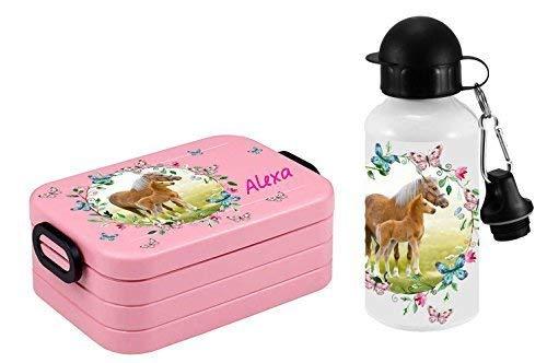 Brotdose Rosti Mepal und Trinkflasche mit Namen und Wunschmotiv midi Brotbox