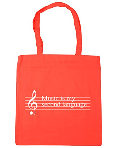 HippoWarehouse música es mi segunda lengua Tote Compras Bolsa de playa 42cm x38cm, 10litros, natural (beige) - 21403-TOTE-Natural coral