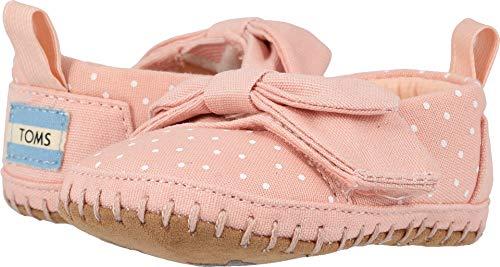 (TOMS Kids Baby Girl's Crib Alpargata (Infant/Toddler) Pink Canvas/Polka Dots/Bow 2 M US)