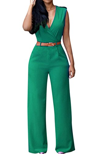 (Pink Queen Women's Elegant V Neck Long Loose Belted Rompers Jumpsuits (XXL, Green) Green XX-Large)