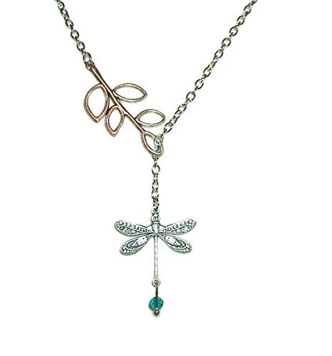 DRAGONFLY LARIAT SLIDE NECKLACE Line Pendant Silver Pltd Chain Teal Crystal Bead Dangle