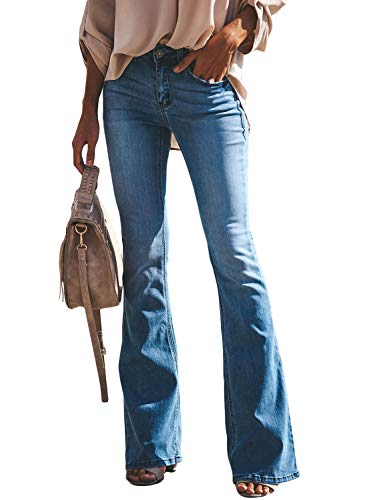 BLENCOT Womens Classic High Waisted Tassel Flare Bell Bottoms Jeans Casual Wide Leg Denim Pants Blue Large ()
