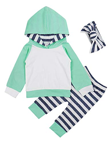 (Newborn Baby Girls Clothes Long Sleeve Summer Breathable Hoodie Tops Sweatsuit Pants with Headband Outfits Set(12-18 Months) Green)