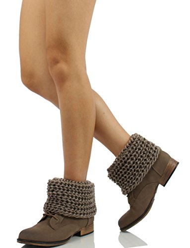 Ankle Sweater Diva Taupe Women's Oxford12 Nubuck Faux Leather Wild Cuff Boots 0anOfqYqB