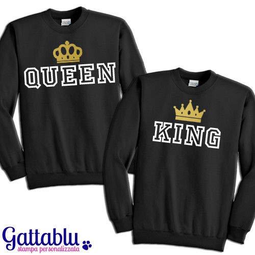 My Digital Print Felpa Coppia King /& Queen Sweatshirt Manica Lunga con Cappuccio Fidanzati Regalo San Valentino Stampa Oro