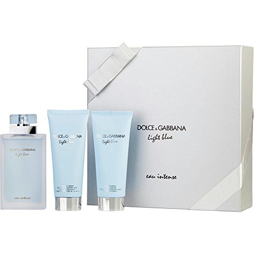 Dolce Gabbana Lotions (D & G Light Blue Eau Intense By Dolce & Gabbana For Women Eau De Parfum Spray 3.3 Oz & Body Cream 3.3 Oz & Shower Gel 3.)
