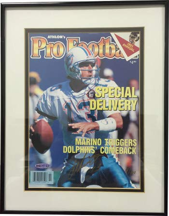 (Dan Marino Autographed Miami Dolphins 1991 Athlon Sports Pro Football Cover Deluxe Framed LTD #13100- Upper Deck Hologram - Certified Authentic)