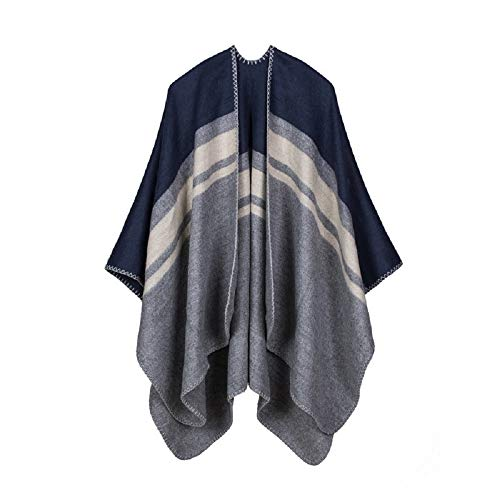 - Women's Striped Poncho Cape Shawl Reversible Faux Cashmere Large Cardigans Sweater Coat (Rhombus-Navy)