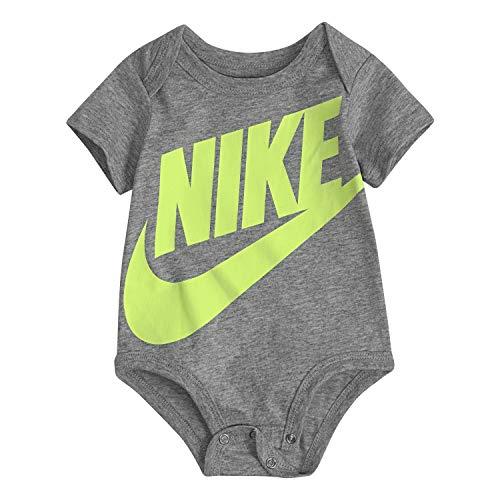 NIKE Children's Apparel Baby Sportswear Graphic Bodysuit, Dark Gray Heather/Volt, 3M