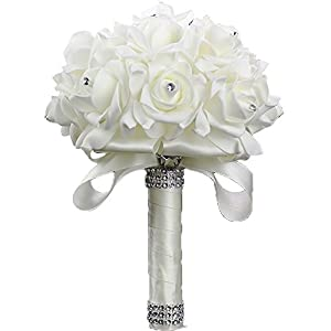 ShangShangXi Bridal Wedding Bouquet Bridesmaid Bouquet with Crystals Artificial Rose Flowers for Party 114