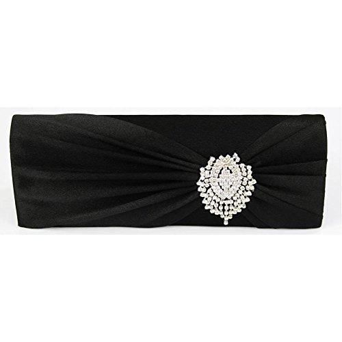Trendstar las mujeres diseñador Cristal satinado brillante, embrague Bolsa Damas tarde Bal De embrague-Promo De las partes Negro - negro