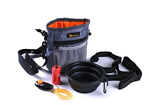 Dog Treat Training Pouch Bundle with Built-in Poop Bag Dispenser, Pet Training Bag, Carry Pet Treats & Toys, Shoulder & Waist Strap + Bonus Dog Clicker + Collapsible Bowl & 1 Roll of Poop Bags