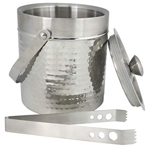 Chef Craft 21964 Hammered Double Walled Ice Bucket 2 qt Stainless Steel