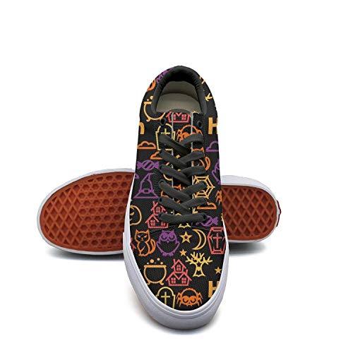 Happy halloween cat owl black Women's Tenis shoes Low Top Sneaker -
