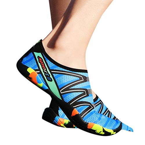 (Toimothcn Water Shoes for Women and Men, Quick-Dry Diving Swim Surf Aqua Sports Socks Barefoot Shoes(Blue6,42))