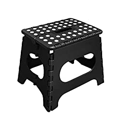 MARVO 11 Inches Plastic Foldable Step Stool Super Quality Folding Step Stool Holds Up To 300 LB,Black