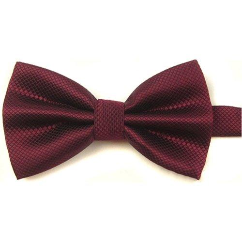 Sanwood Men's Plain Polyester Pre Tied Wedding Bow Tie (dark red)