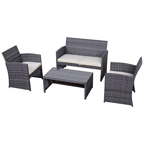 Tangkula 4 Piece Outdoor Patio Sofa Set Lawn Garden Outdoor PE Rattan Wicker Furniture Sets (Gray) (4 Piece Nook Cushion)
