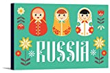 Russia - Nesting Dolls - Vector - Red and Teal (36x24 Gallery Wrapped Stretched Canvas)