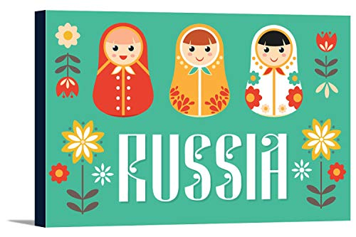 Russia - Nesting Dolls - Vector - Red and Teal (36x24 Gallery Wrapped Stretched Canvas) by Lantern Press (Image #8)