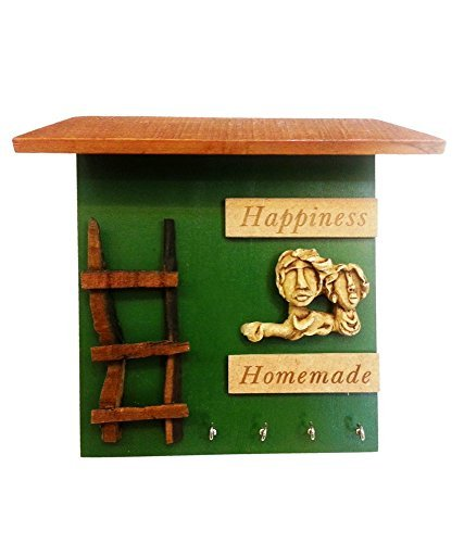 Karigaari India Mdf Wood Hut Happiness Homemade Key - Hut India