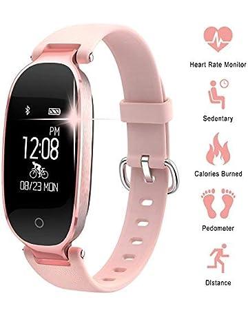 d70a79592d7b Pulsera Monitor de Actividad Pulsómetro y Podómetro para Mujeres  Impermeable IP67