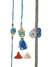 Rakhi Lumba set for Bhaiya Bhabhi/Brother/Handmade Rakhi Thread Bracelet Dori with Roli Chawal for Raksha Bandhan set of 3