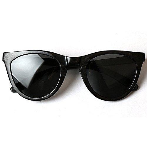 de Gafas bambú sol para de gafas ULTRAVIOLETA a sol de Gafas marco de que las de hombres Ojos madera los de del gato mano personalidad Negro Retro Protección Gafa Sunglasses de conduce hechos la Beach sol wgH01q1