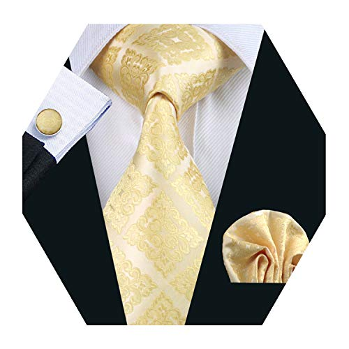 YOHOWA Mens Yellow Gold Tie Pocket Square Silk Necktie Cufflinks Set