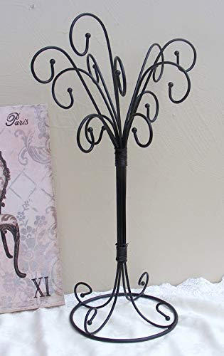 Maj Black Iron Jewelry Stand Curly Necklace Ornament Tree Stand ()