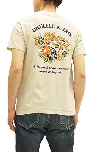Sun Surf Men's Slim Fit Loopwheeled T-Shirt Ukulele and Lei Tee SS7798 ECRU Japan L (US M/UK 38) (Ukulele Lei)