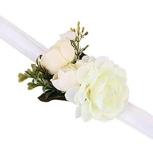 Molyveva Women Girls Flower Wreath Floral Wedding Prom Party Garland Corsage Wrist Band Link Bracelets (White) 33