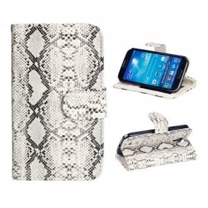 PU Leather and Plastic Protective Case with Colorful Snake Pattern for Samsung S4 i9500 White