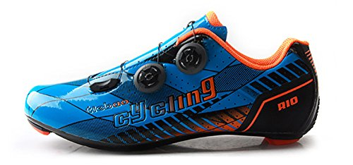 Tiebao Professional Road Bike Cycling Shoes Ultralight Breathable Carbon Fiber Non-Slip Riding Shoes, Blue/Black, US ()