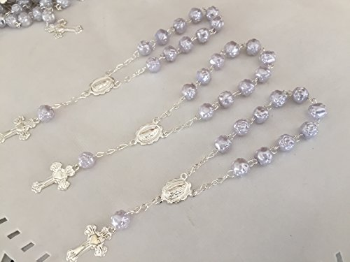 25 Pc Oyster Gray Color Baptism Favors Silver Plated Accents Mini Rosaries Silver Plated Acrylic Beads/ Recuerditos De Bautismo/ Christening Favors/ Decenarios/ Decades/ Finger Rosaries