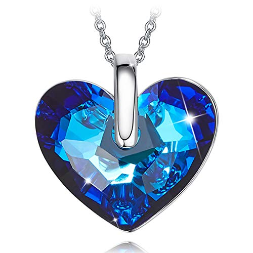 CRYSLOVE Heart Necklace with Blue Bermuda Crystals from Swarovski ♥Heart of The Ocean♥ White-Gold Plated Valentines Monther's Day Jewelry Gifts 16