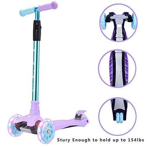 WonderView Kick Scooter Kids 3 Wheel Scooter, 4 Height Adjustable Pu Wheels Extra Wide Deck Best Gifts Kids, Boys Girls, Purple