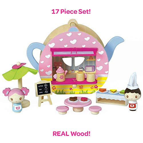 Adora Classic Wooden Toy Teapot Café 17 Pieces Educational Toys Playset with Tea Time Cups for Toddlers 3+