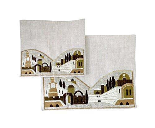 Embroidered Linen Tallit and Tefilin 2 Bag Set Jerusalem City Hills Design Ivory and Gold