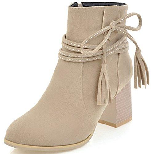 Aisun Damen Nubuklederoptik Blockabsatz Reißverschluss Kurzschaft Chelsea Stiefel Mit Schleife Grau 38 EU SHUy18JYgT