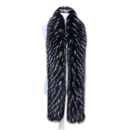 Men Women Winter Warm Faux Fox Raccoon Fur Collar Stole Long Scarf Shawl (Black)