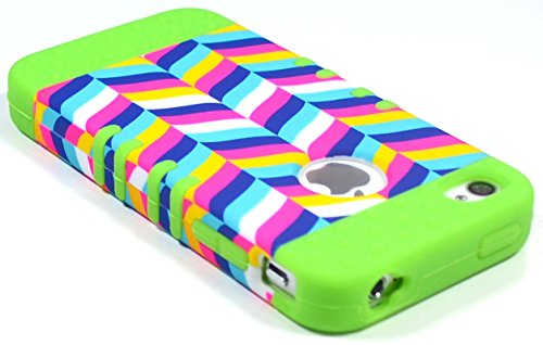 Bastex Heavy Duty Hybrid Case for Apple Iphone 4, 4s, 4g, 4gs - Neon Green Silicone Cover / Colorful Fishtail Design Hard Shell