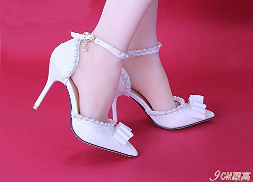 Bracelet Sandal 5 Word Sharp Cm Fine Heels Bride Heel Dress White Sandals Shoes VIVIOO Shoes Bow 9 Prom Pearl Lace One fUHBngR